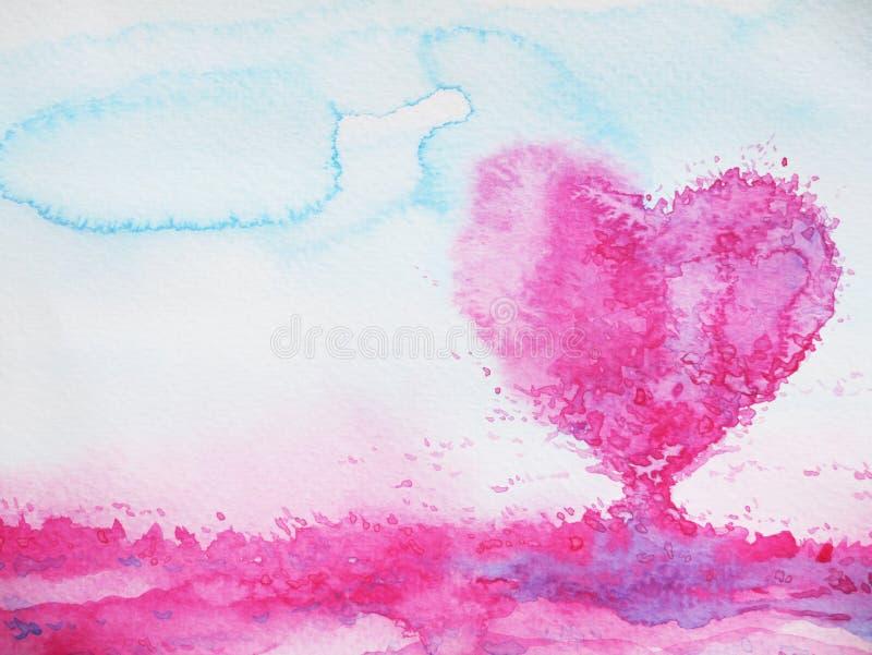 Árbol de amor de la forma del corazón para casarse, día de tarjetas del día de San Valentín, acuarela stock de ilustración