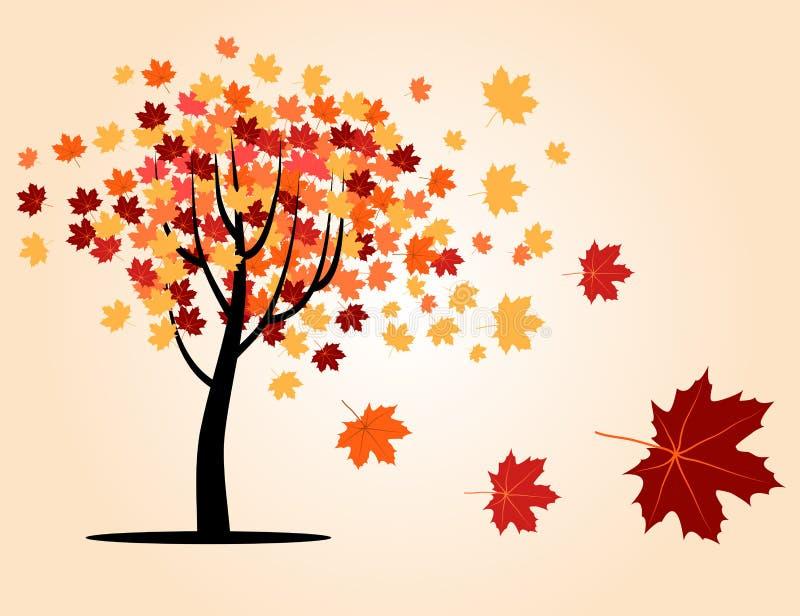 Árbol de arce del otoño stock de ilustración