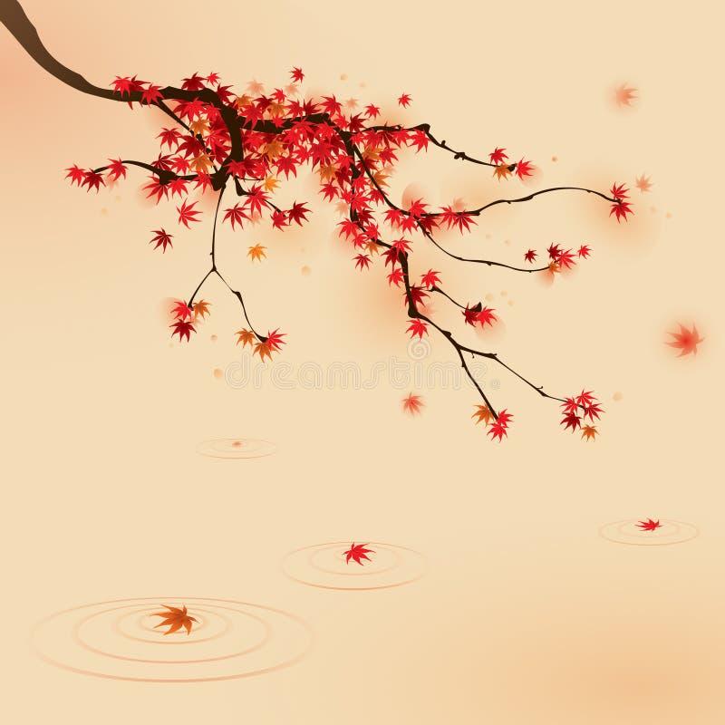 Árbol de arce rojo en otoño stock de ilustración