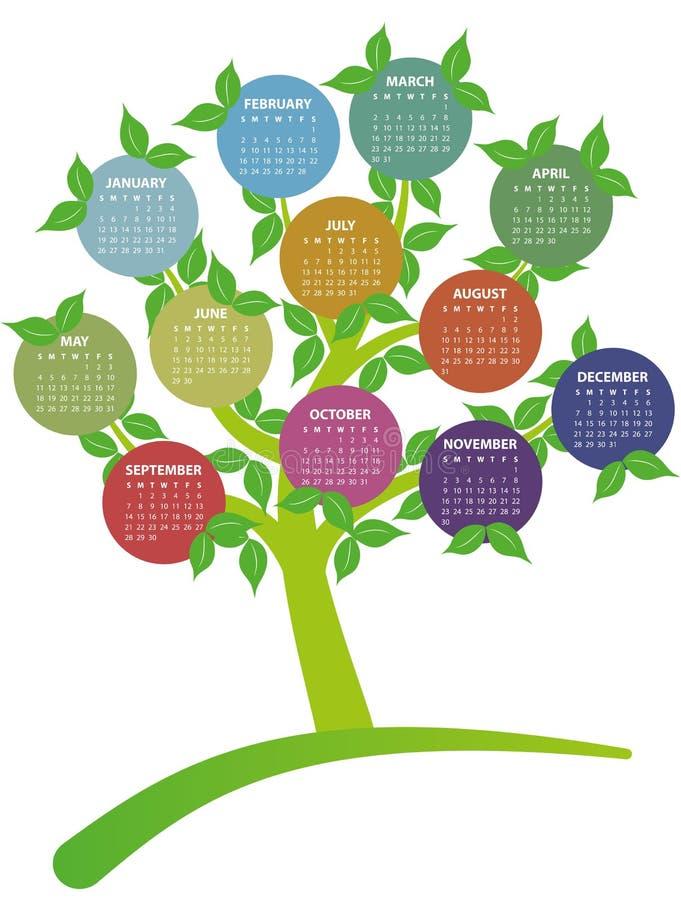 árbol de 2014 calendarios libre illustration