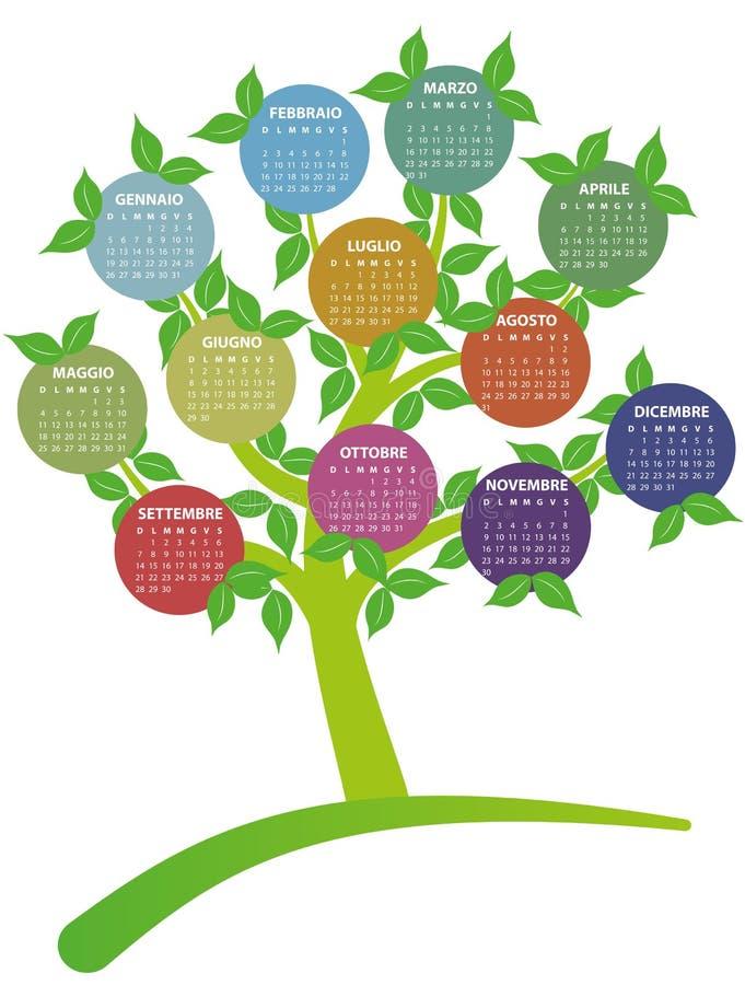 árbol de 2014 calendarios stock de ilustración