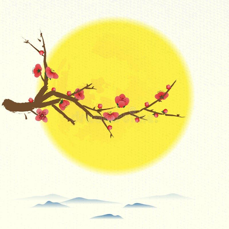 Árbol de ciruelo que florece con la luna redonda stock de ilustración