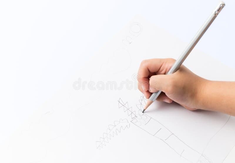 Árbol de coco del dibujo de la mano del niño imagen de archivo libre de regalías