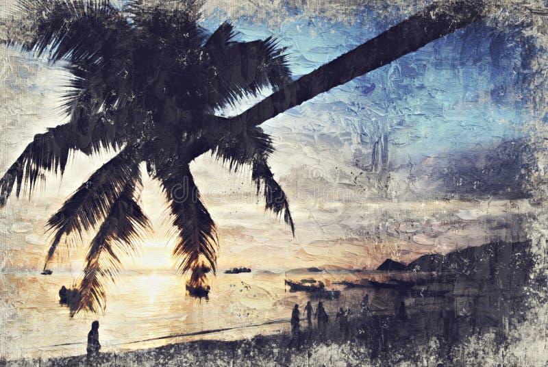 Árbol de coco Koh Tao Sunset Digitaces Art Impasto Oil Painting b foto de archivo