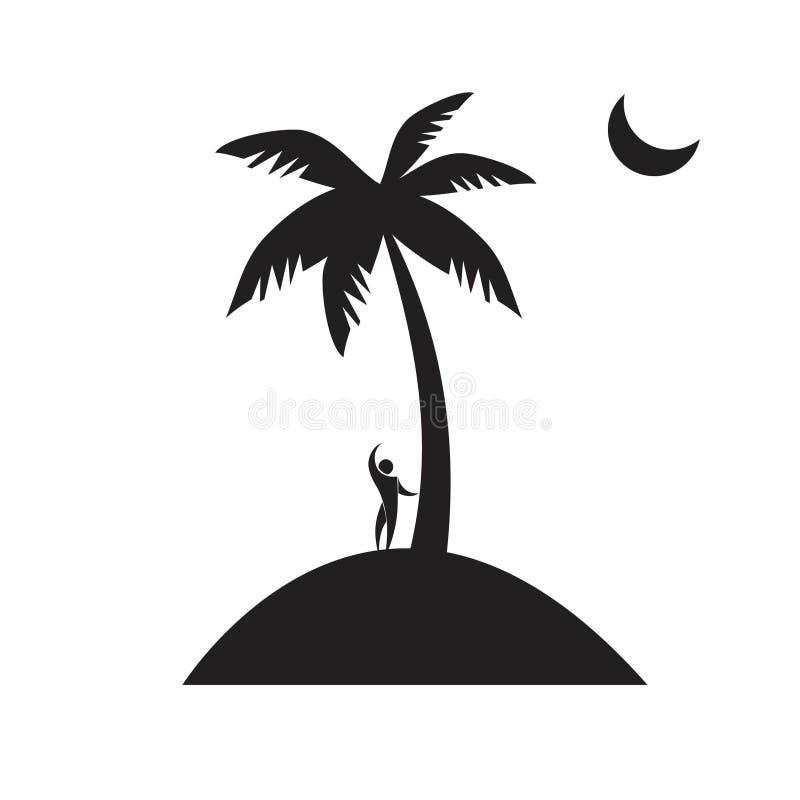 Árbol de coco, vector, ilustrador, ahogándose stock de ilustración