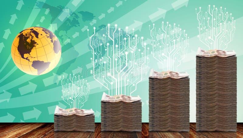 Árbol de Digitaces crecido para arriba en el dinero físico ilustración del vector