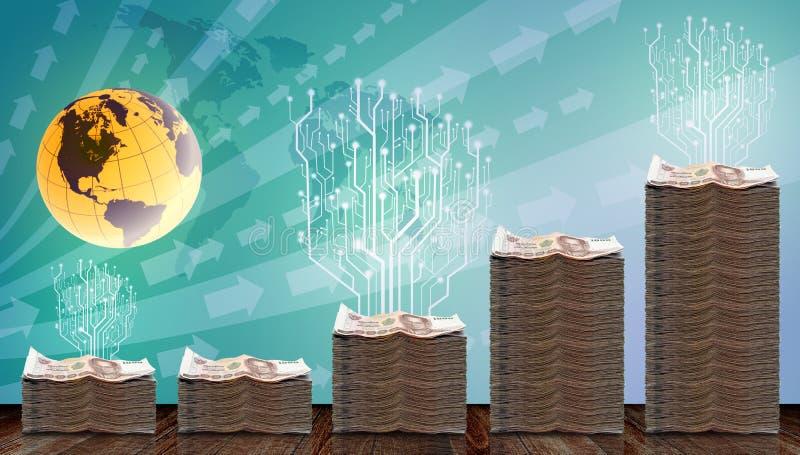 Árbol de Digitaces crecido para arriba en el dinero físico stock de ilustración