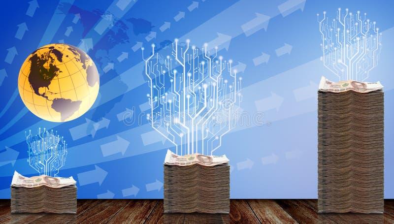 Árbol de Digitaces crecido para arriba en el dinero físico libre illustration