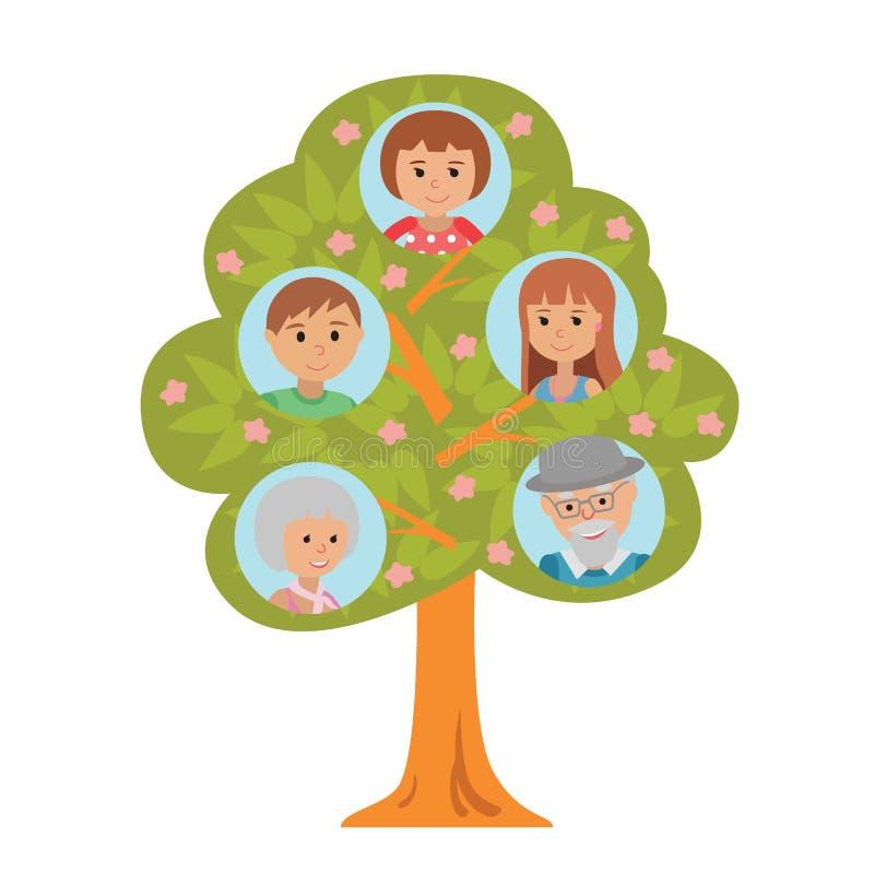 Árbol de familia de la generación de la historieta en padres y niño planos de los abuelos del estilo en el fondo blanco ilustración del vector