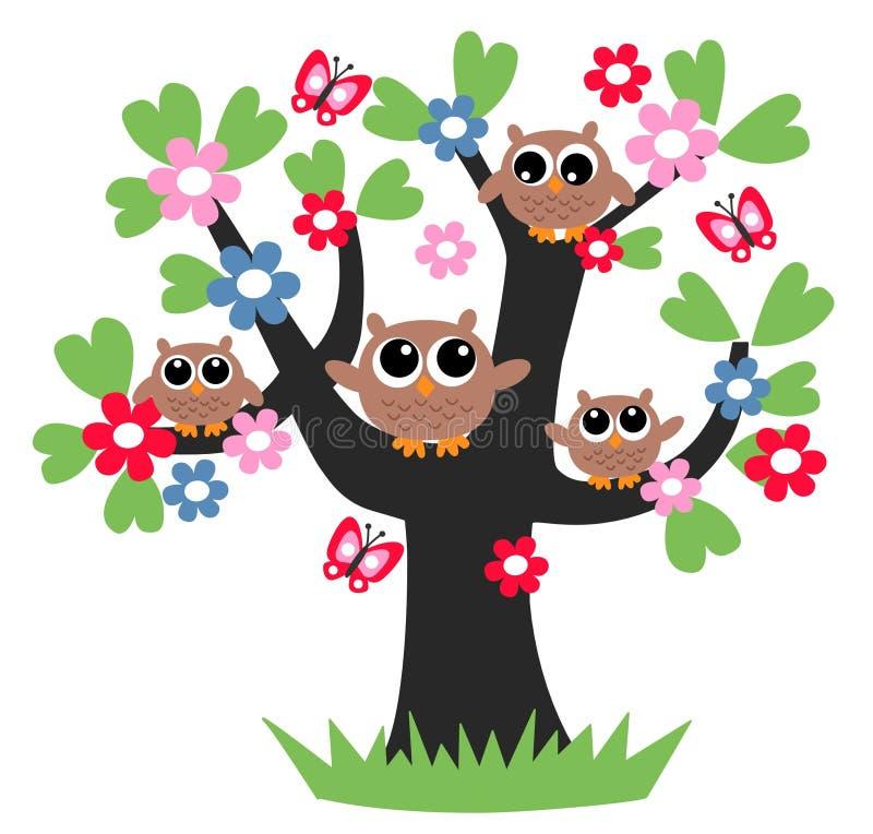 Árbol de familia del búho stock de ilustración