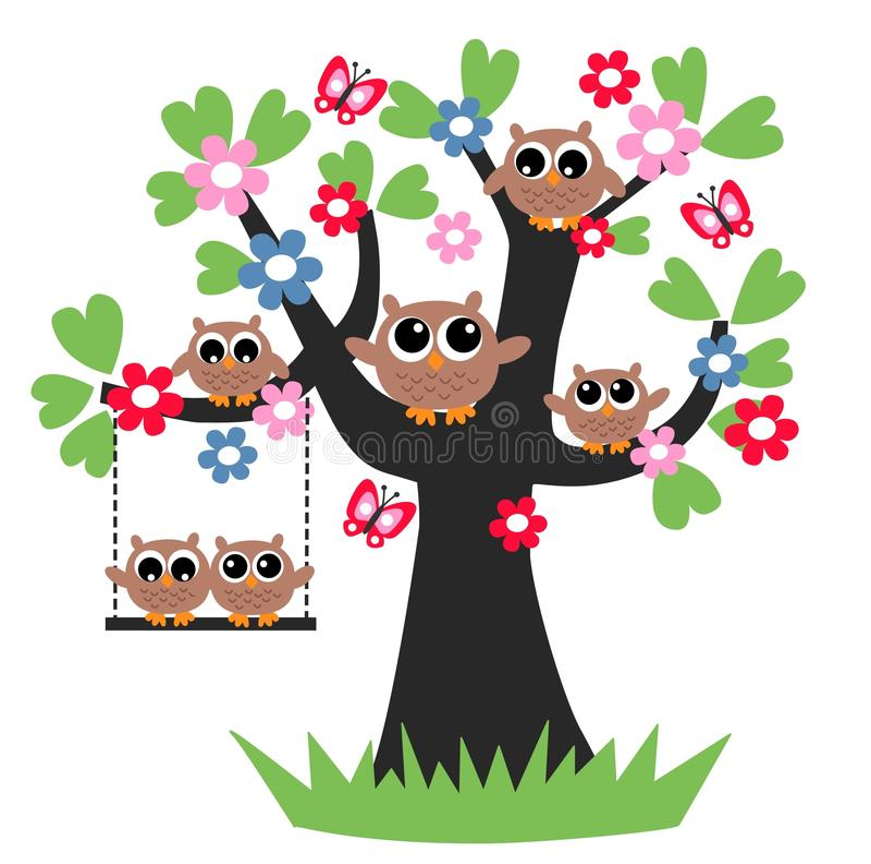 Árbol de familia del búho ilustración del vector