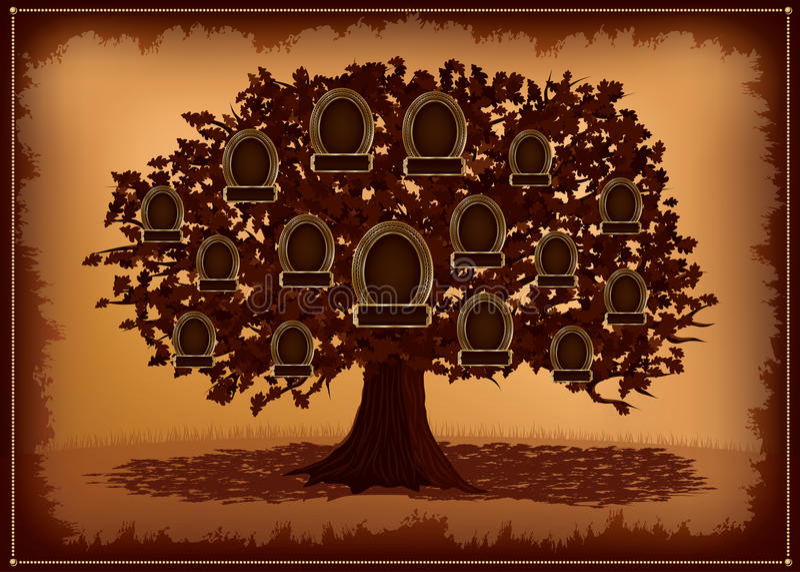 Árbol de familia del vector con los marcos y las hojas. libre illustration