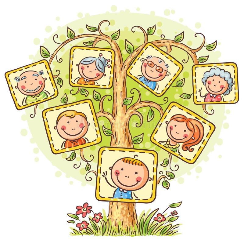 Árbol de familia en imágenes, pequeño niño con sus padres y abuelos stock de ilustración