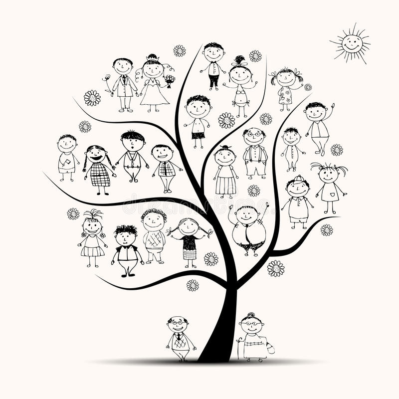 Árbol de familia, parientes, bosquejo de la gente stock de ilustración