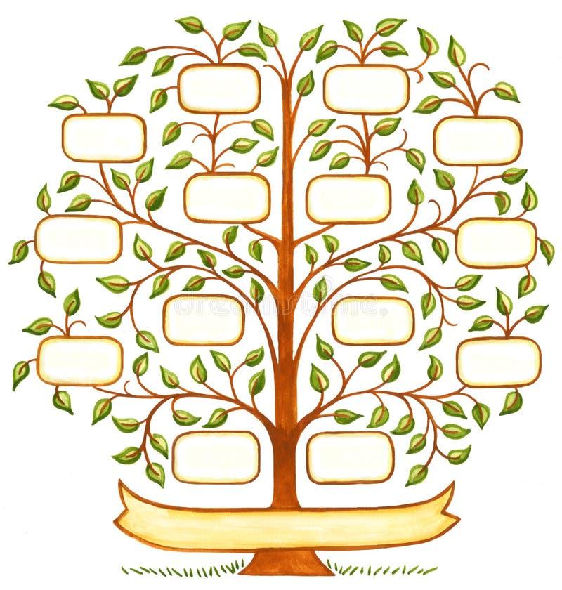 Árbol de familia pintado a mano stock de ilustración