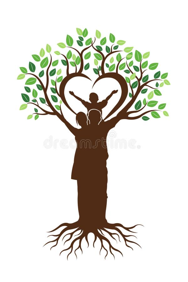 Árbol de familia y logotipo de las raíces fotografía de archivo libre de regalías