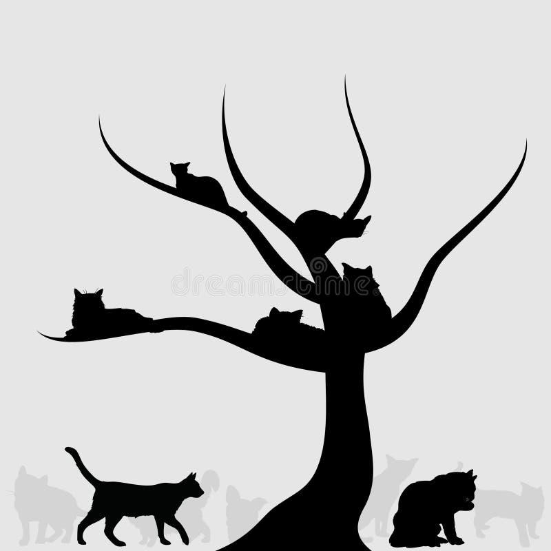 Árbol de gatos ilustración del vector