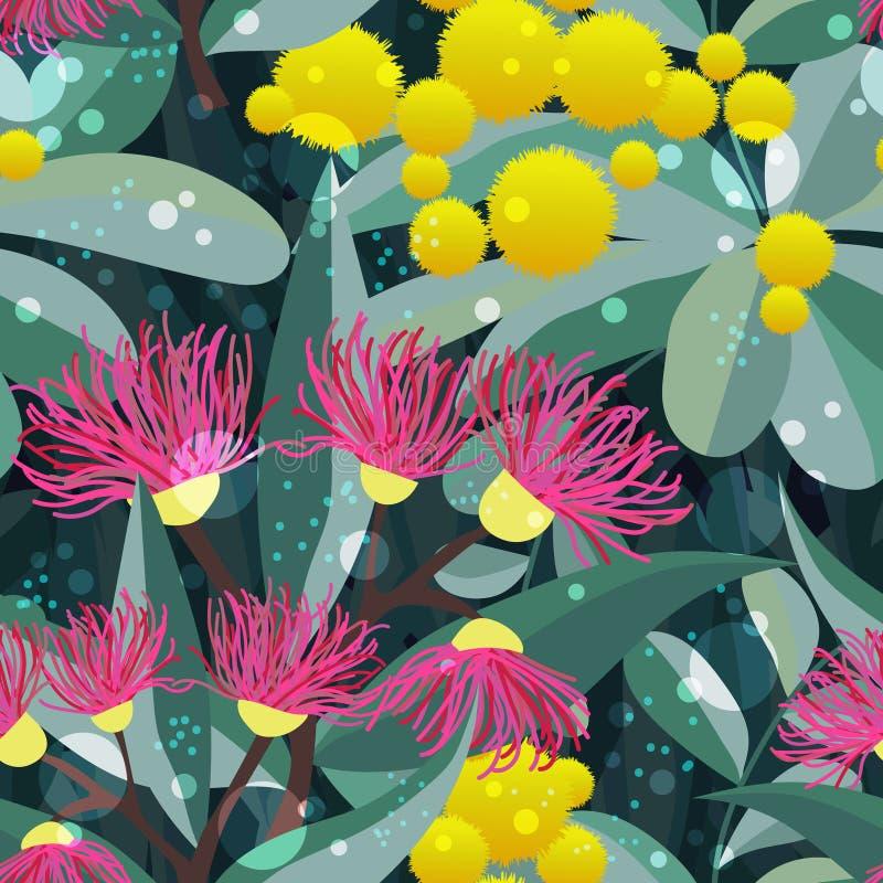 Árbol de goma inconsútil de eucalipto de la floración del modelo del vector libre illustration