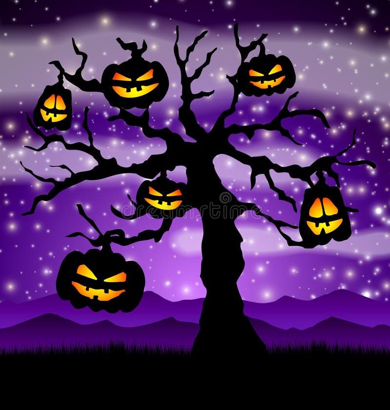Árbol de Halloween con las calabazas stock de ilustración