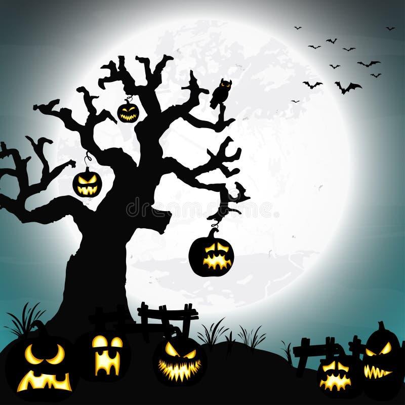 Árbol de Halloween y calabazas muertos delante de una Luna Llena stock de ilustración