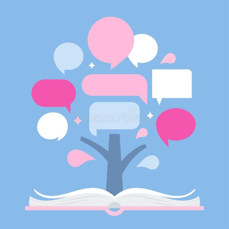 Árbol de Infographic y libro abierto Plantilla de la presentación para las citas y los datos Diseño del vector ilustración del vector