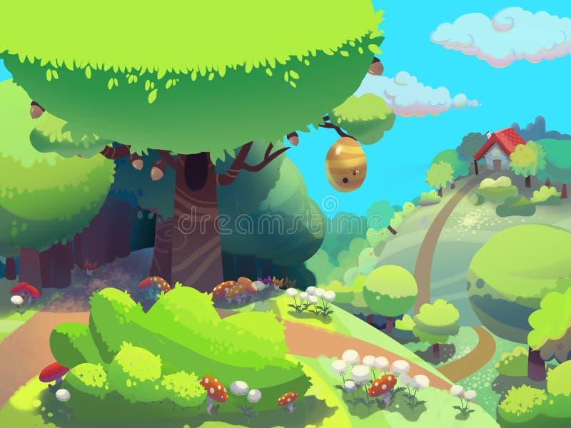 Árbol de la abeja en el bosque cerca de la casa de la abuelita dibujada en estilo de la historieta libre illustration