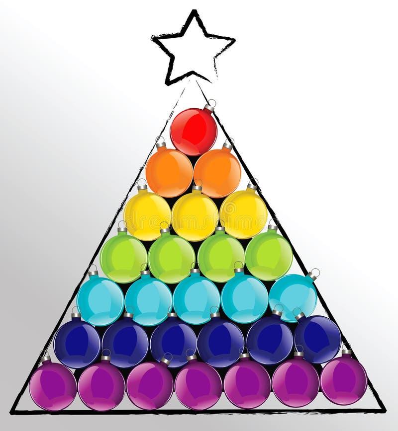 Árbol de la bola de la Navidad en colores del arco iris stock de ilustración