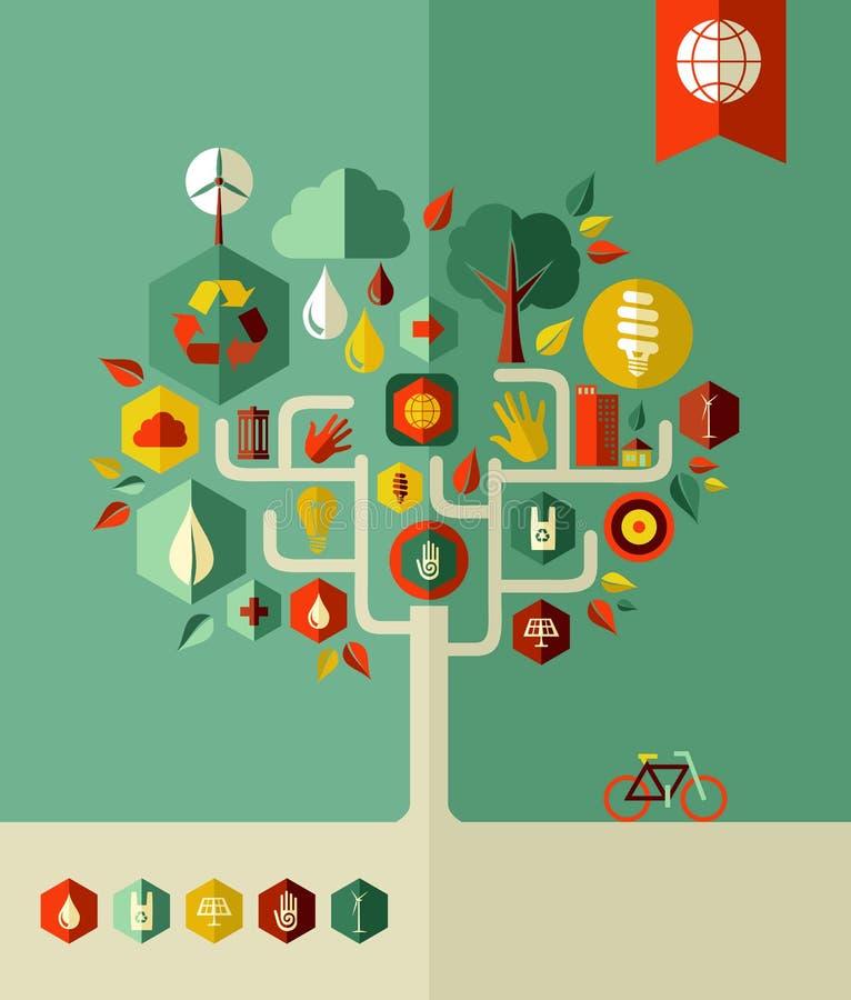 Árbol de la ciudad de la protección de Eco ilustración del vector