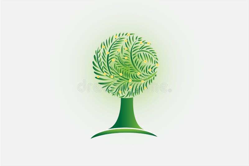 Árbol de la ecología e imagen de tarjeta amarilla de la identificación del vector del logotipo de las flores stock de ilustración