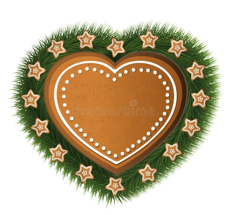 Árbol de la estrella del pan de jengibre del corazón stock de ilustración