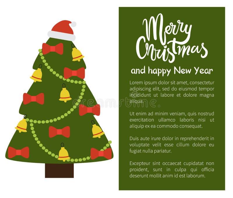 Árbol de la Feliz Navidad y del cartel de la Feliz Año Nuevo ilustración del vector