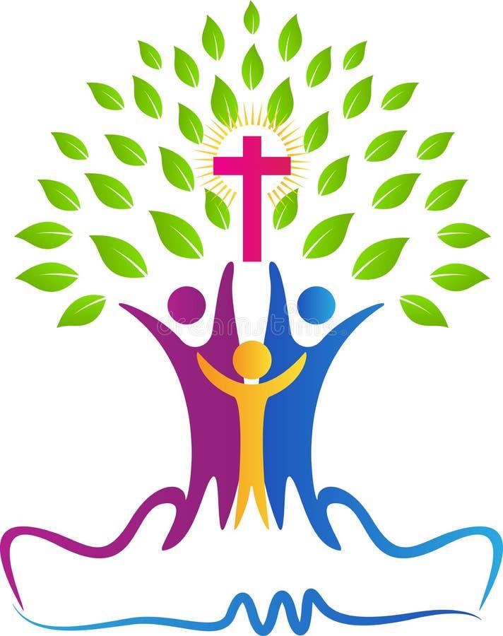 Árbol de la gente del cristianismo ilustración del vector