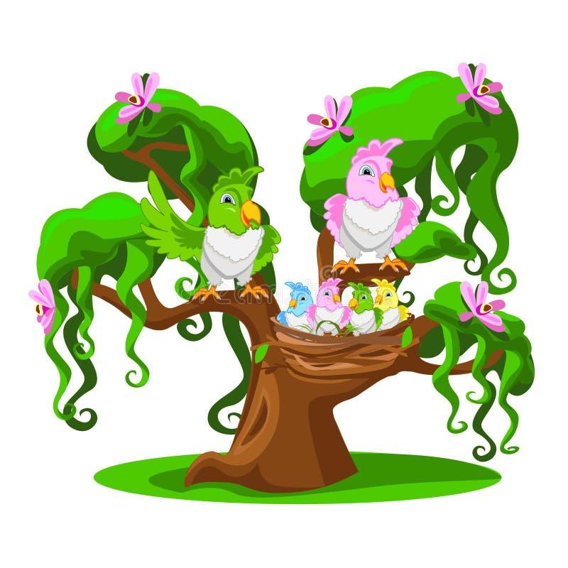 Árbol de la historieta con los loros divertidos ilustración del vector