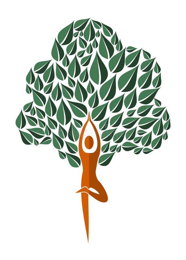 Árbol de la hoja de la yoga de la India ilustración del vector