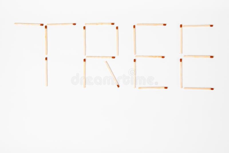 ÁRBOL de la inscripción escrito con los partidos de madera - ahorrar el planeta - visión superior fotografía de archivo