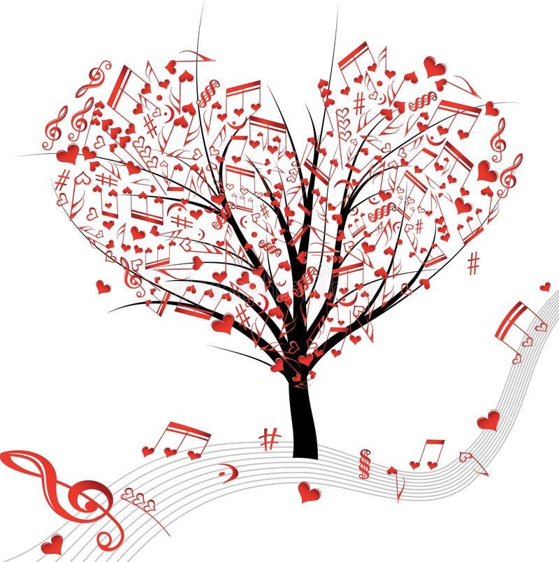 Árbol de la música. ilustración del vector