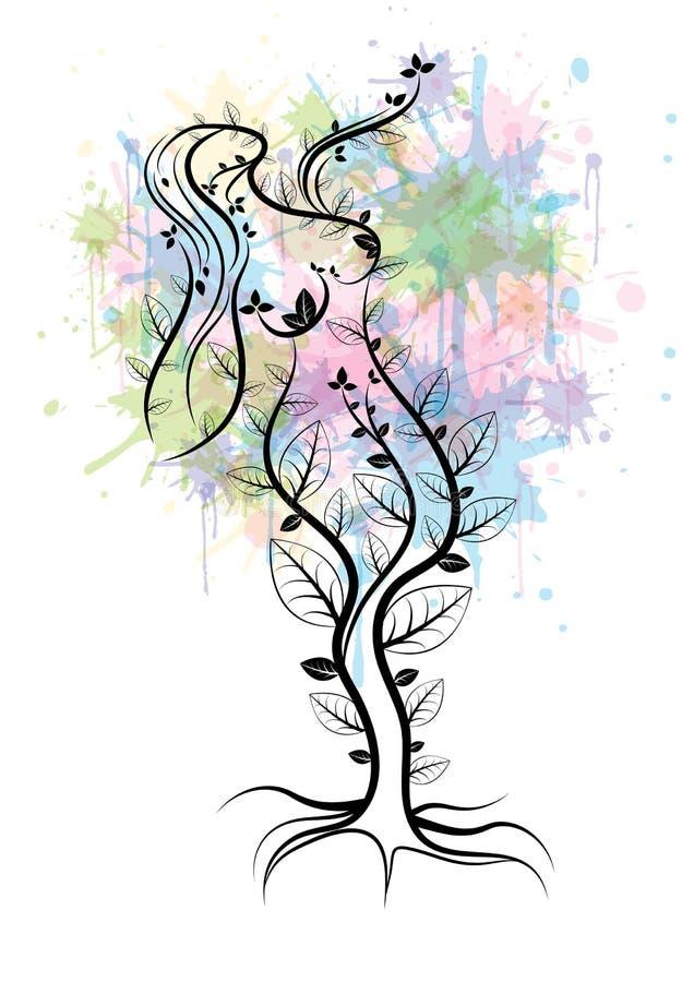 Árbol de la madre naturaleza ilustración del vector