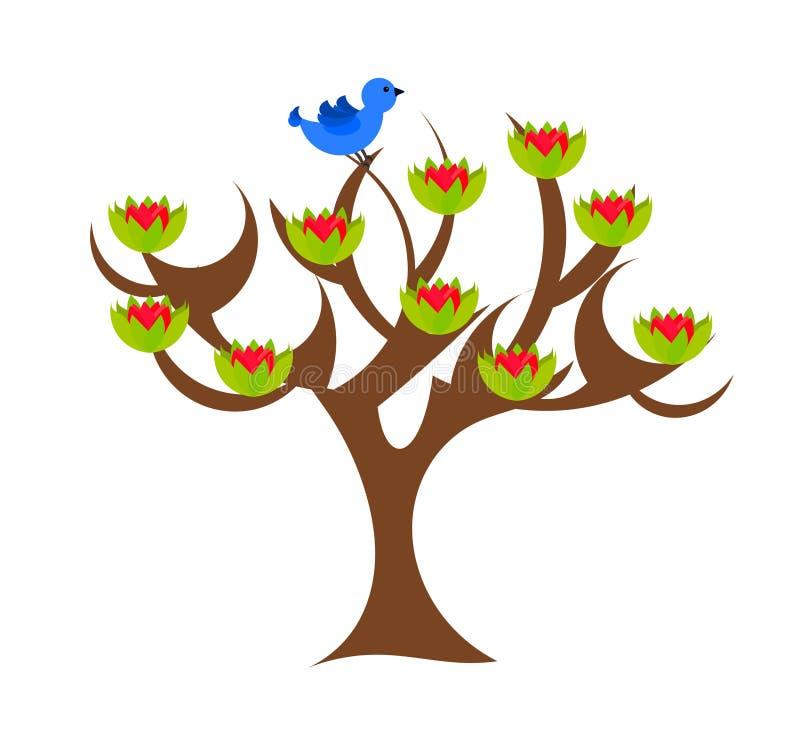 Árbol de la magnolia stock de ilustración
