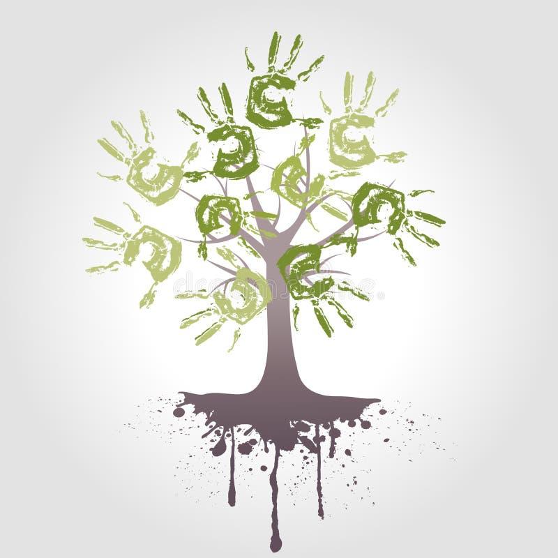 Árbol de la mano con la raíz stock de ilustración