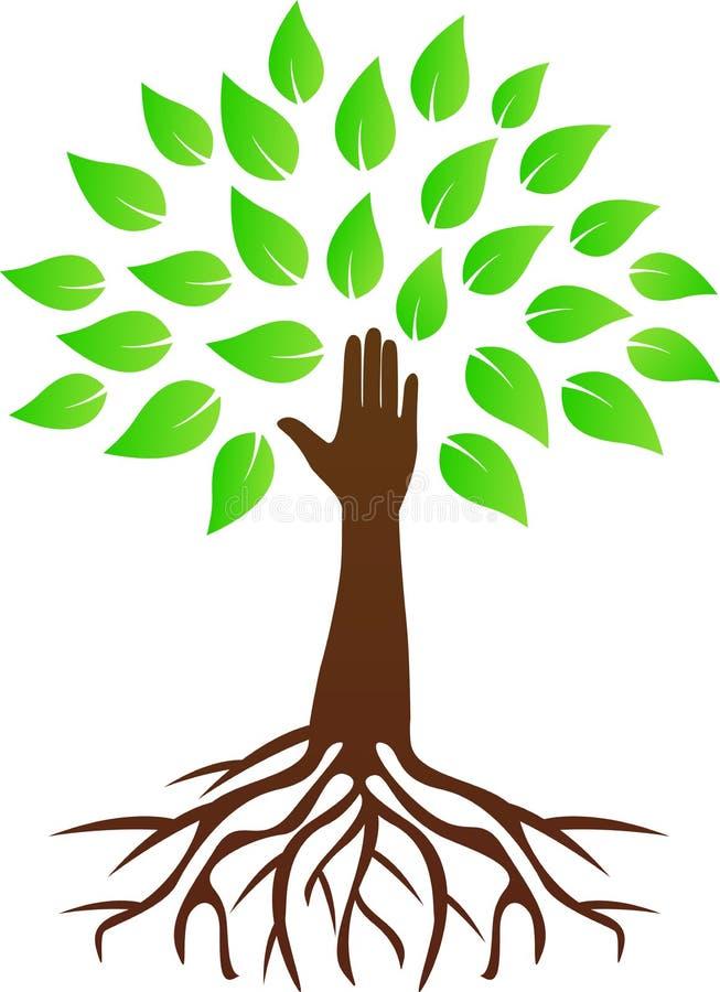 Árbol de la mano con las raíces ilustración del vector