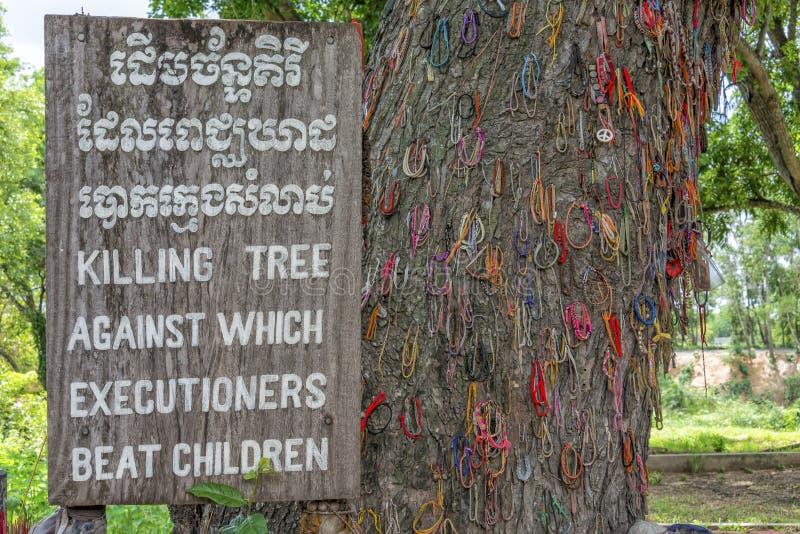 Árbol de la matanza, campos de la matanza, Camboya fotografía de archivo
