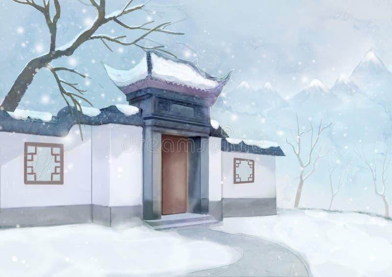 Árbol de la montaña del invierno del edificio del estilo chino stock de ilustración
