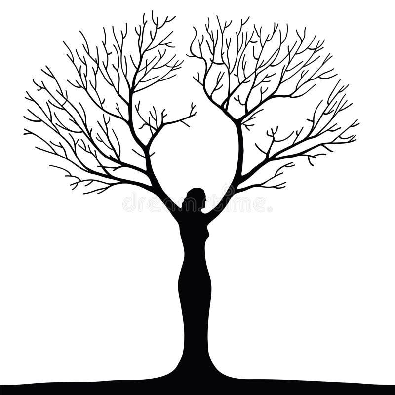 Árbol de la mujer stock de ilustración