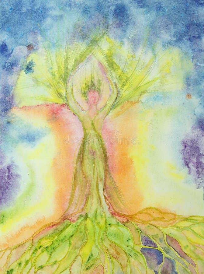 Árbol de la mujer de la vida con aureola stock de ilustración