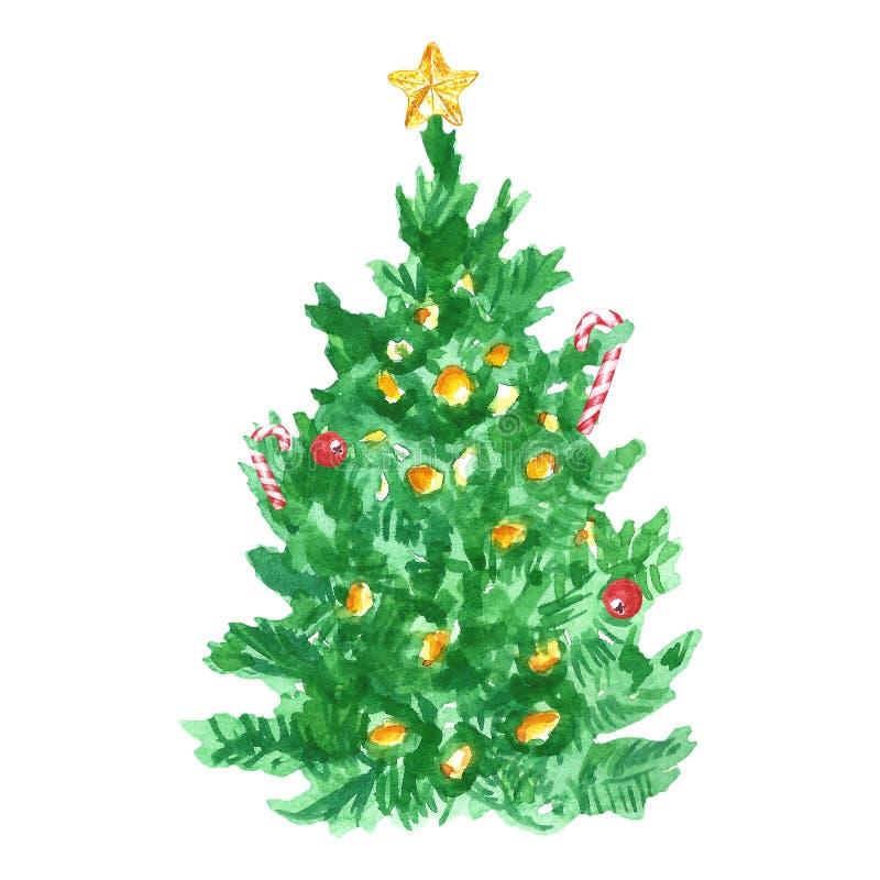 Árbol de la Navidad y del Año Nuevo con la decoración de los bastones de la estrella y de caramelo del primero del árbol de navid stock de ilustración