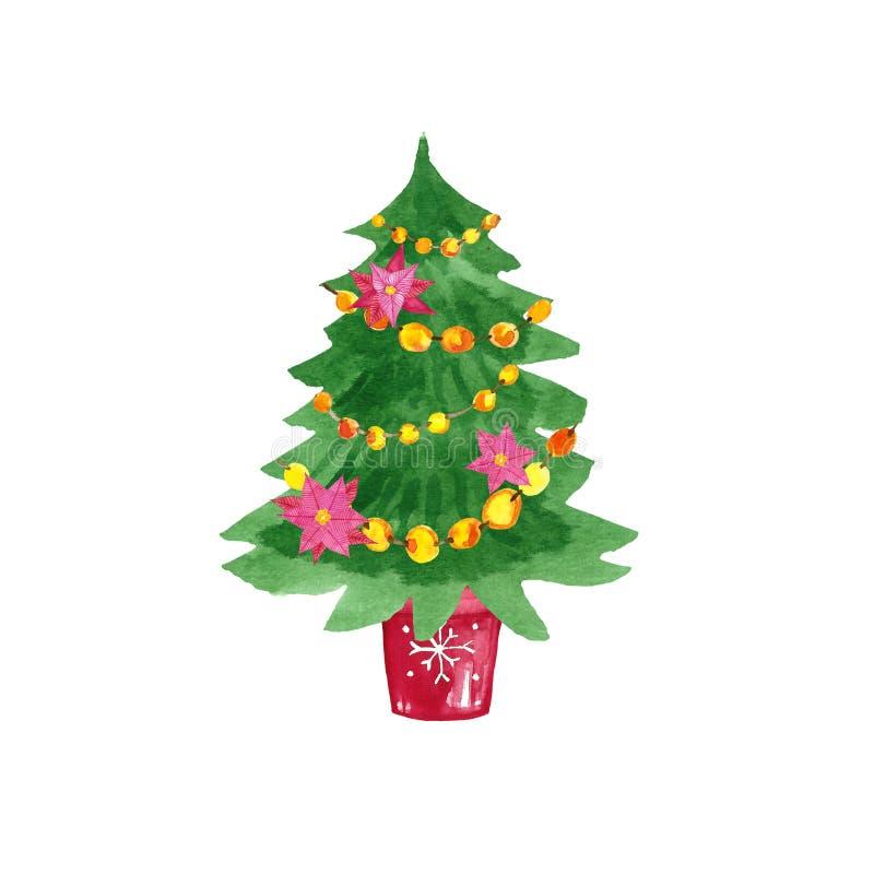 Árbol de la Navidad y del Año Nuevo con las decoraciones solated en fondo del wite Árbol festivo hermoso de la picea con la guirn fotos de archivo