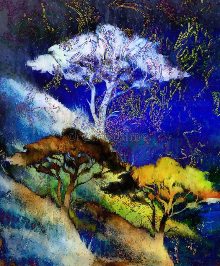 Rbol de la pintura paisaje del papel pintado collage - Papel pintado paisajes ...