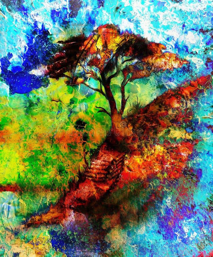 Árbol de la pintura, paisaje del papel pintado, collage del color libre illustration