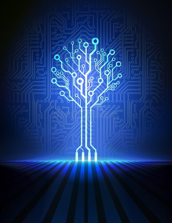 Árbol de la placa de circuito. Fondo del vector stock de ilustración