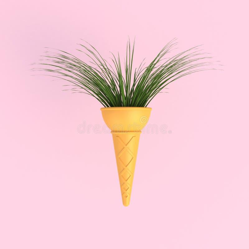 Árbol de la rama en fondo rosado mínimo del extracto del cono de helado libre illustration